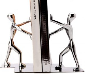 Tebery Stainless Steel Kung Fu Man Bookends